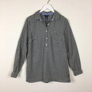 Tops - Lands End Button Tunic Checker Shirt Sz Small